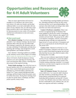 Image of Opportunities and Resources for 4-H Adult Volunteers publication