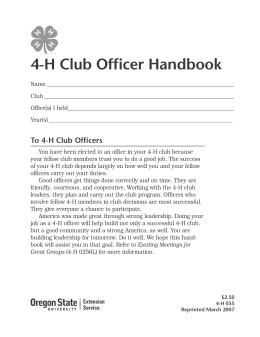 Image of 4-H Club Officer Handbook publication