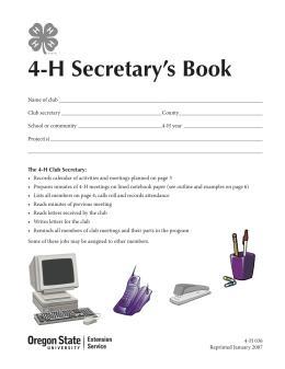 Image of 4-H Secretary's Book publication