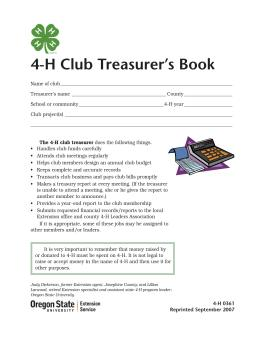 Image of 4-H Club Treasurer's Book publication