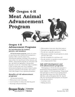 Image of Oregon 4-H Meat Animal Advancement Program publication