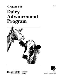 Image of Oregon 4-H Dairy Advancement Program publication
