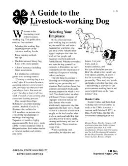 Image of A Guide to the Livestock-Working Dog publication