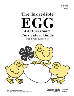 Image of The Incredible Egg: 4-H Classroom Curriculum Guide for Grade Level 4-5 publication