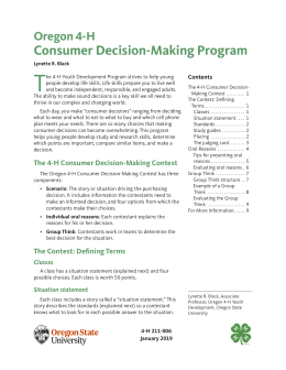 Cover image of Oregon 4-H Consumer Decision-Making Program publication