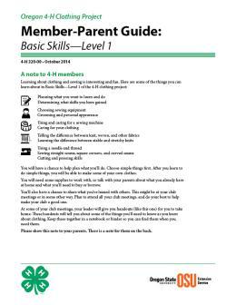 Image of Oregon 4-H Clothing Project Member-Parent Guide publication