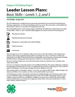 Image of Oregon 4-H Clothing Project Leader Lesson Plans: Basic Skills-Levels 1, 2, and 3 publication