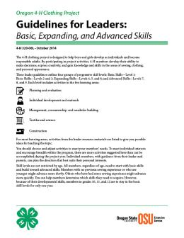 Image of Oregon 4-H Clothing Project Guidelines for Leaders: Basic, Expanding, and Advanced Skills publication