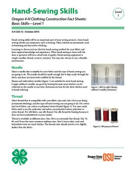 Image of Oregon 4-H Clothing Construction Fact Sheet: Hand-Sewing Skills publication
