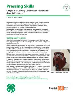 Image of Oregon 4-H Clothing Construction Fact Sheet: Pressing Skills publication