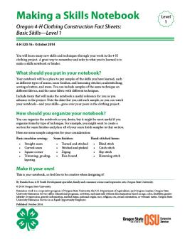 Image of Oregon 4-H Clothing Construction Fact Sheet: Making a Skills Notebook publication