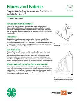 Image of Oregon 4-H Clothing Construction Fact Sheet: Fibers and Fabrics publication