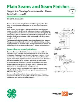 Image of Oregon 4-H Clothing Construction Fact Sheet: Plain Seams and Seam Finishes publication