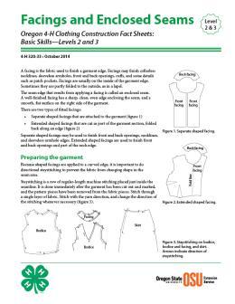 Image of Oregon 4-H Clothing Construction Fact Sheet: Facings and Enclosed Seams publication