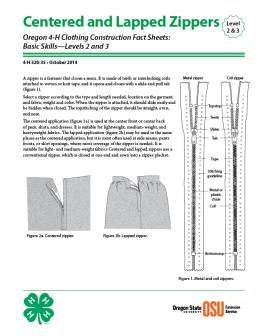 Image of Oregon 4-H Clothing Construction Fact Sheet: Centered and Lapped Zippers publication