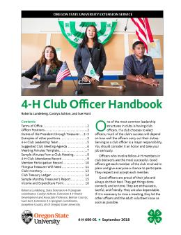 "Cover image of ""4-H Club Officer Handbook"" publication"