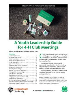 "Cover image of ""A Youth Leadership Guide for 4-H Club Meetings"" publication"