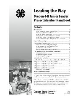 Image of Leading the Way: Oregon 4-H Junior Leader Project Member Handbook publication