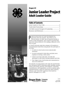 Image of Oregon 4-H Junior Leader Project: Adult Leader Guide publication
