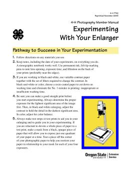 Image of Experimenting With Your Enlarger: 4-H Photography Member Manual publication