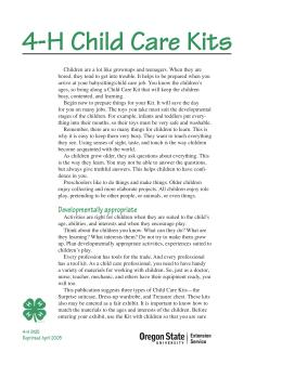 Image of 4-H Child Care Kits publication
