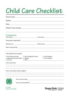 Image of Child Care Checklist publication