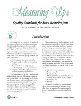 Image of Measuring Up: Quality Standards for Sewn Items/Projects publication