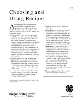 Image of Choosing and Using Recipes publication