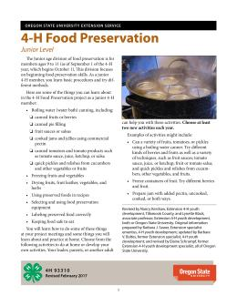 This the cover of 4H 93310, 4H Food Preservation for the junior level.