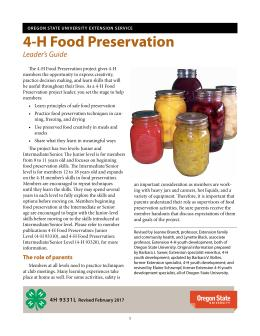 This is the cover of 4-H 9331L, the 4-H Food Preservation Leader's Guide.