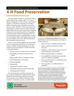 This is the cover for 4-H 93320, Food Preservation, Junior/Senior Level