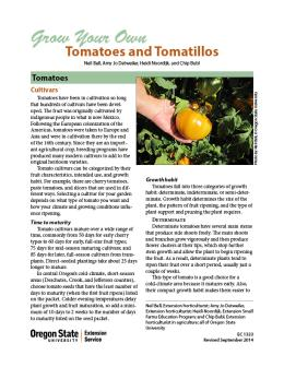Image of Grow Your Own Tomatoes and Tomatillos publication