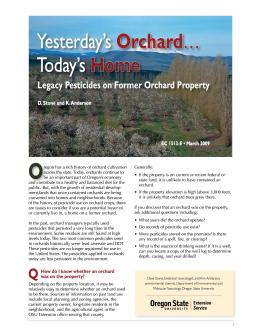 Image of Yesterday's Orchard, Today's Home: Legacy Pesticides on Former Orchards publication
