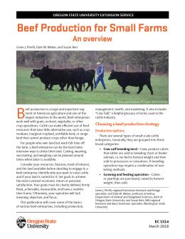 """Cover image of """"Beef Production for Small Farms: An Overview"""" publication"""