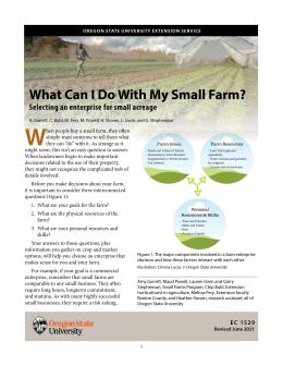 "Cover image of ""What Can I Do with My Small Farm? Selecting an Enterprise for Small Acreages"""