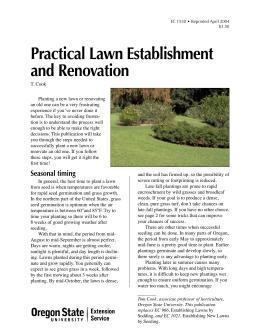 Image of Practical Lawn Establishment and Renovation publication