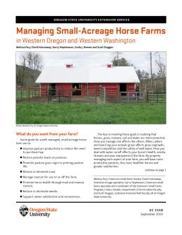 Image of Managing Small-Acreage Horse Farms for Green Pastures, Clean Water, and Healthy Horses publication