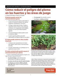 """Cover image of """"Cómo evaluar y reducir el peligro del plomo en los huertos y jardines"""""""