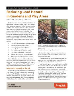 "The cover of Reducing Lead Hazard in Gardens and Play Areas"" publication"