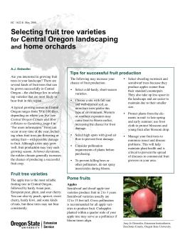 Image of Selecting Fruit Tree Varieties for Central Oregon Landscaping and Home Orchards publication