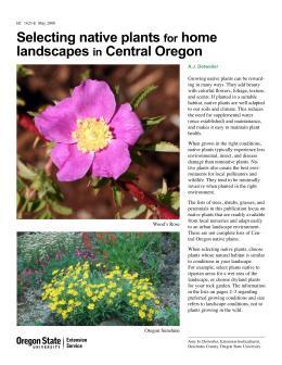 Image of Selecting Native Plants for Home Landscapes in Central Oregon publication