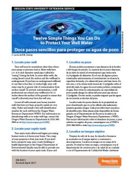 "Cover image ""Twelve Simple Things You Can Do to Protect Your Well Water / Doce pasos sencillos para proteger su agua de pozo"" publication"