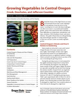 "Cover image of ""Growing Vegetables in Central Oregon (Crook, Deschutes, and Jefferson Counties)"" publication"
