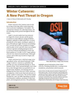 "Cover image of ""Winter Cutworm: A New Pest Threat in Oregon"" publication"