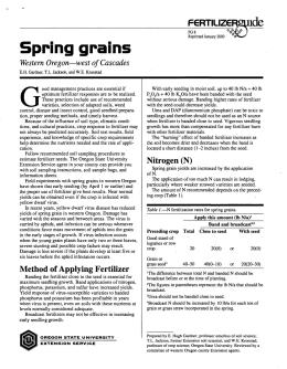 Image of Spring Grains: Western Oregon—West of Cascades Fertilizer Guide publication