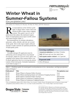 Image of Winter Wheat in Summer-Fallow Systems (Low Precipitation Zone) Fertilizer Guide publication