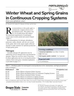 Image of Winter Wheat and Spring Grains in Continuous Cropping Systems (Low Precipitation Zone) Fertilizer Guide publication