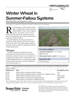 Image of Winter Wheat in Summer-Fallow Systems (Intermediate Precipitation Zone) Fertilizer Guide publication