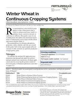 Image of Winter Wheat in Continuous Cropping Systems (Intermediate Precipitation Zone) Fertilizer Guide publication