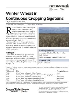 Image of Winter Wheat in Continuous Cropping Systems (High Precipitation Zone) Fertilizer Guide publication